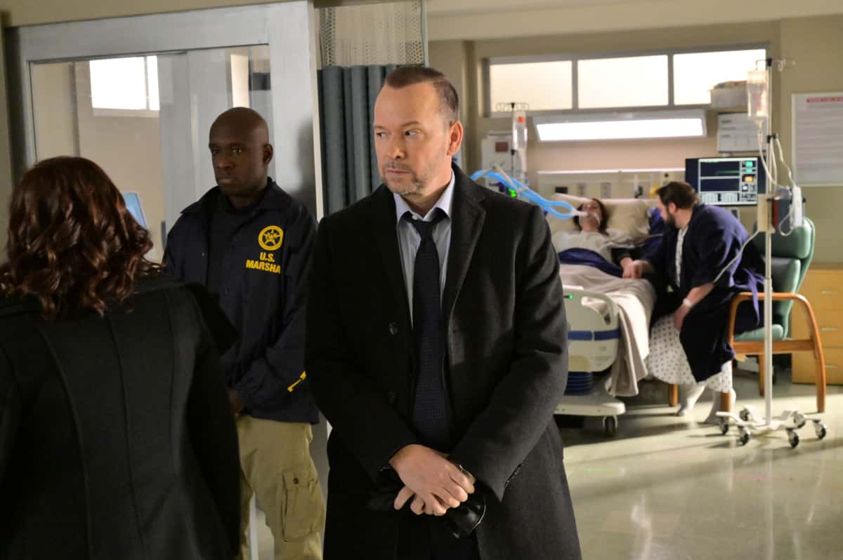 "Blue Bloods Season 11 Episode 12 ""Happy Endings"" – Business becomes personal for Frank and his 1 Police Plaza team when Baker is assaulted on the street, as well as for Erin, when she asks her ex-husband, Jack Boyle (Peter Hermann), to represent a defendant she's prosecuting. Also, Eddie wonders if she's being too stubborn after she publicly undermines one of Jamie's decisions at work, and Danny and Baez investigate the attempted murder of a couple with huge secrets, on BLUE BLOODS, Friday, April 16 (10:00-11:00 PM, ET/PT) on the CBS Television Network. Pictured: Donnie Wahlberg as Danny Reagan. Photo: John Paul Filo  ©2021 CBS BROADCASTING INC. ALL RIGHTS RESERVED."