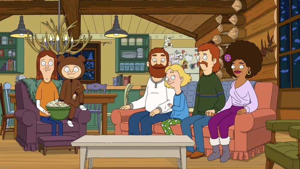 """THE GREAT NORTH Season 1 Episode 9 : Beef and Wolf meet their hero, legendary mountain man, Tusk Johnson! Judy and the rest of the Tobin clan become addicted to '80s primetime soap """"Dynasty"""" in the """"Tusk in the Wind Adventure"""" episode of THE GREAT NORTH airing Sunday, April 18 (8:30-9:00 PM ET/PT) on FOX. THE GREAT NORTH © 2021 by 20th Television and Fox Media LLC."""