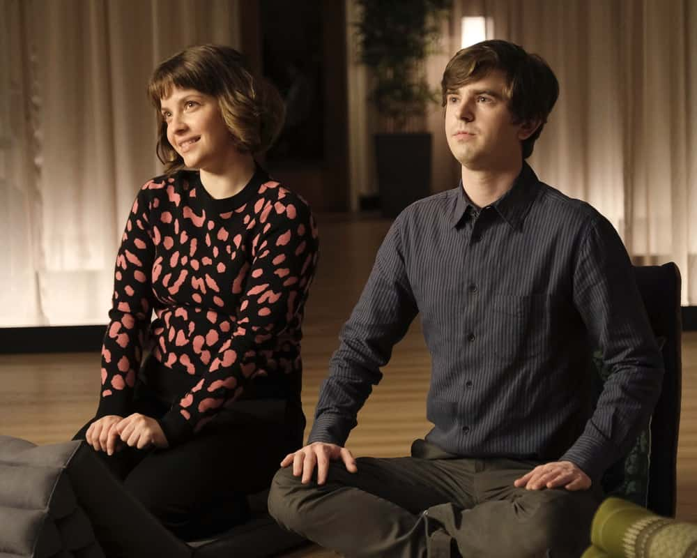 """THE GOOD DOCTOR Season 4 Episode 14 - """"Gender Reveal"""" – After finding out the gender of their unborn child, Lea's enthusiasm prompts Shaun to make an effort to be a more supportive partner. Meanwhile, the team treats a navy pilot whose previous doctor's misdiagnosis compromises her chances at a full recovery on an all-new episode of """"The Good Doctor,"""" MONDAY, APRIL 19 (10:00-11:00 p.m. EDT), on ABC. (ABC/Jeff Weddell) PAIGE SPARA, FREDDIE HIGHMORE"""