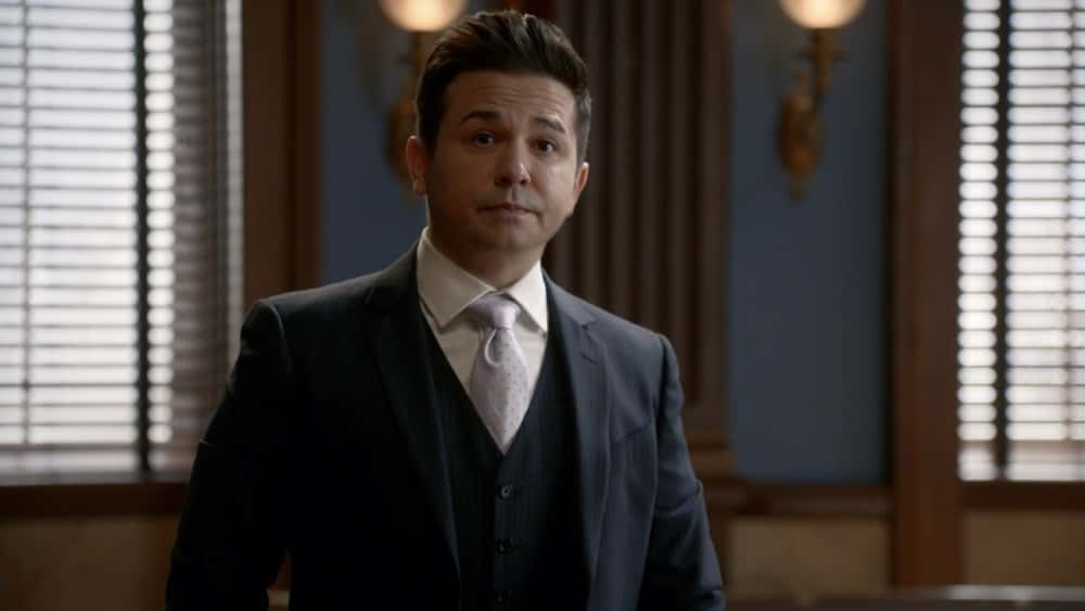"""Bull Season 5 Episode 12 """"Evidence to the Contrary"""" – Bull and the TAC team worry about jury bias when Bull mounts a murder trial defense for a Black Lives Matter activist who is also the son of the wrongly convicted man who inspired Bull to start his trial science company, on BULL, Monday, April 19 (10:00-11:00 PM, ET/PT) on the CBS Television Network.  Pictured: Freddy Rodriguez as Benny Colón Photo: Screen Grab/CBS ©2021 CBS Broadcasting, Inc. All Rights Reserved."""