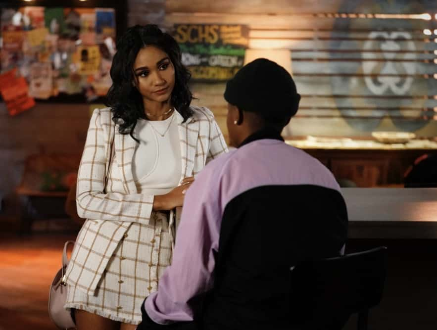 "All American Season 3 Episode 10 -- ""Put Up or Shut Up"" -- Image Number: ALA310d_0023r.jpg -- Pictured (L-R): Greta Onieogou as Layla and Bre - Z as Coop -- Photo: Lisa Rose/The CW -- © 2021 The CW Network, LLC. All Rights Reserved"