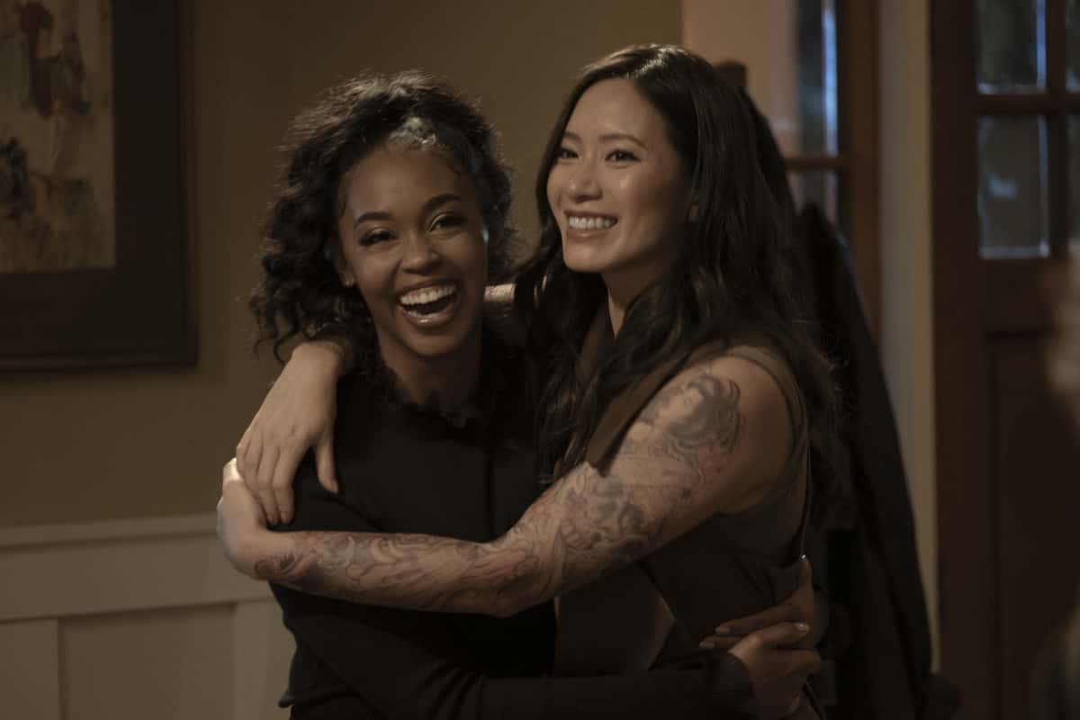 """Black Lightning Season 4 Episode 8 -- """"The Book of Ruin: Chapter Three""""-- Image Number: BLK408_0025r.jpg -- Pictured: (L-R)Nafessa Williams as Anissa and --Chantal Thuy as Grace Choi--Photo: Kyle Kaplan/The CW --  2021 The CW Network, LLC. All rights reserved."""