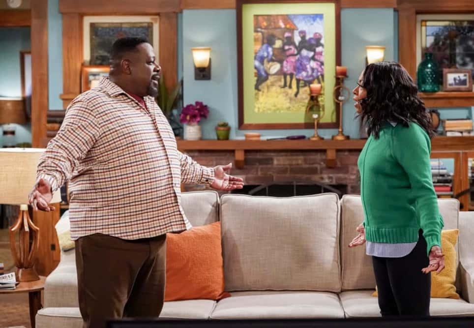 """The Neighborhood Season 3 Episode 14 """"Welcome to the Hero"""" – Pictured: Cedric the Entertainer (Calvin Butler) and Tichina Arnold (Tina Butler). Dave earns Calvin's respect when he thwarts a robbery at the barbershop, until the recognition goes to his head and he starts exaggerating the truth. Also, Marty invites an anxious Gemma to give his new stress-busting hobby a try, on THE NEIGHBORHOOD, Monday, April 19 (8:00-8:30 PM, ET/PT) on the CBS Television Network. Photo: Monty Brinton/CBS ©2021 CBS Broadcasting, Inc. All Rights Reserved."""