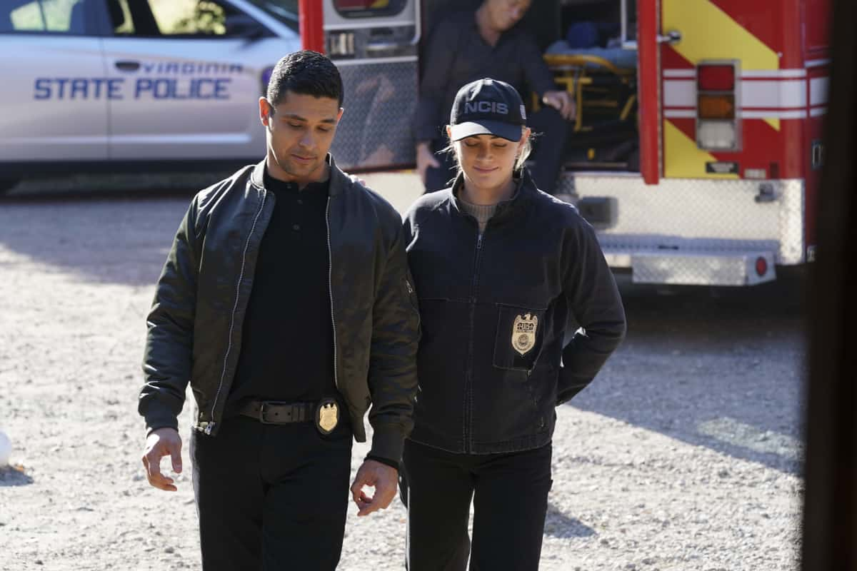 """NCIS Season 18 Episode 12 """"Sangre"""" – Evidence from the stabbing of a Marine Sergeant leads Torres to meet his father, Miguel (Steven Bauer), who left when he was a child, on NCIS, Tuesday, April 27 (8:00-9:00 PM, ET/PT) on the CBS Television Network. Pam Dawber returns as investigative reporter Marcie Warren. Pictured:   Wilmer Valderrama as NCIS Special Agent Nicholas """"Nick"""" Torres, Emily Wickersham as NCIS Special Agent Eleanor """"Ellie"""" Bishop.  Photo: Sonja Flemming/CBS ©2021 CBS Broadcasting, Inc. All Rights Reserved."""