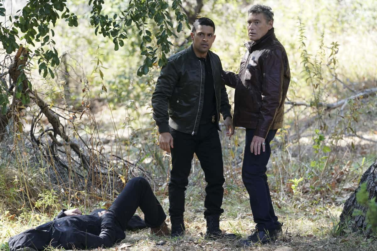 """NCIS Season 18 Episode 12 """"Sangre"""" – Evidence from the stabbing of a Marine Sergeant leads Torres to meet his father, Miguel (Steven Bauer), who left when he was a child, on NCIS, Tuesday, April 27 (8:00-9:00 PM, ET/PT) on the CBS Television Network. Pam Dawber returns as investigative reporter Marcie Warren. Pictured: Wilmer Valderrama as NCIS Special Agent Nicholas """"Nick"""" Torres, Steven Bauer as Miguel.   Photo: Sonja Flemming/CBS ©2021 CBS Broadcasting, Inc. All Rights Reserved."""