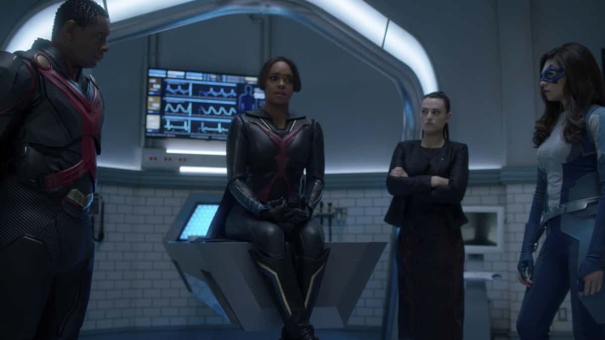 "Supergirl Season 6 Episode 4-- ""Lost Souls"" -- Image Number: SPG604fg_0011r.jpg -- Pictured: David Harewood as J'onn J'onzz, Sharon Leal as M'gann M'orzz, Katie McGrath as Lena Luthor and Nicole Maines as Dreamer. Photo: The CW -- © 2021 The CW Network, LLC. All Rights Reserved."