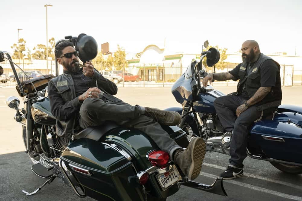 "MAYANS MC Season 3 Episode 7 -- ""What Comes of Handlin' Snakeskin"" -- Season 3, Episode 7  (Airs April 20)  Pictured: Clayton Cardenas as Angel Reyes, Vincent Rocco Vargas as Gilberto ""Gilly"" Lopez. CR: Prashant Gupta/FX"