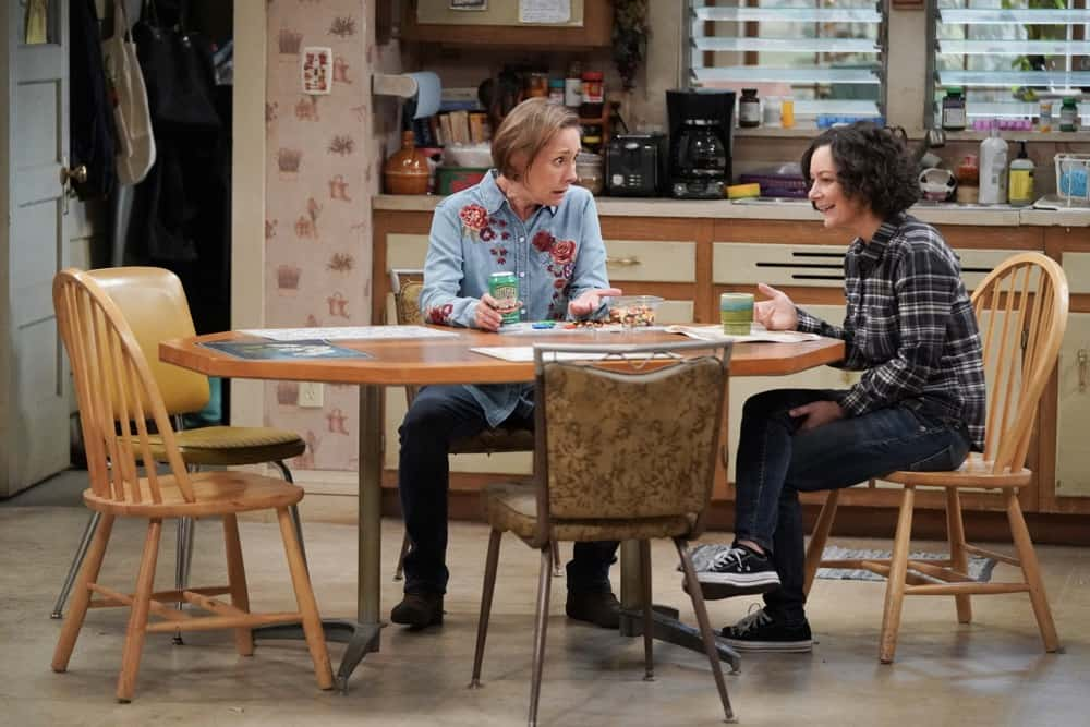 """THE CONNERS Season 3 Episode 18 - """"Cheating, Revelations and A Box of Doll Heads"""" – Mark is stressed and exhausted from studying for an important entrance exam so Darlene steps in to help, but her plan backfires, on an all-new episode of """"The Conners,"""" airing WEDNESDAY, APRIL 21 (9:00-9:30p.m. EDT), on ABC. (ABC/Eric McCandless) LAURIE METCALF, SARA GILBERT"""