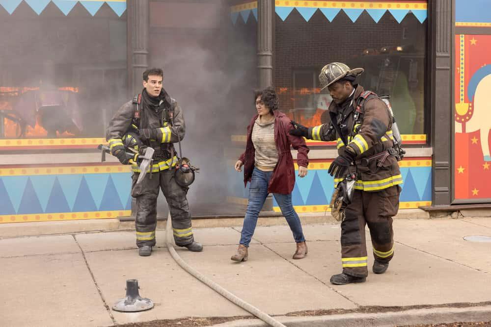 "CHICAGO FIRE Season 9 Episode 12 -- ""Natural Born Firefighter"" Episode 912 -- Pictured: (l-r) Alberto Rosende as Blake Gallo, Eamonn Walker as Wallace Boden -- (Photo by: Adrian S. Burrows Sr./NBC)"