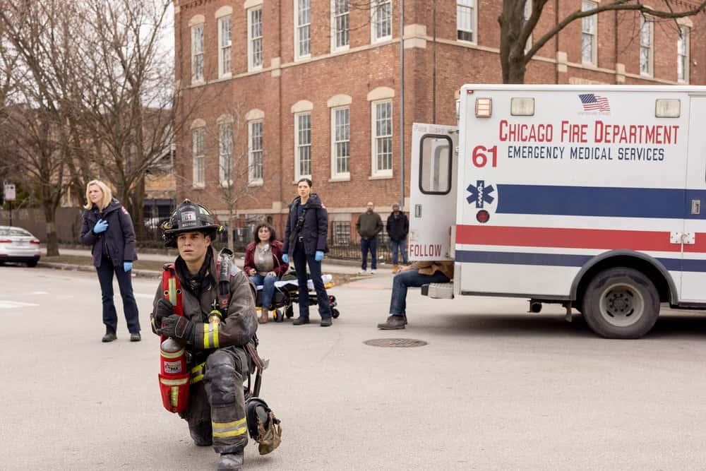 "CHICAGO FIRE Season 9 Episode 12 -- ""Natural Born Firefighter"" Episode 912 -- Pictured: (l-r) Kara Killmer as Sylvie Brett, Alberto Rosende as Blake Gallo, Hanako Greensmith as Violet -- (Photo by: Adrian S. Burrows Sr./NBC)"