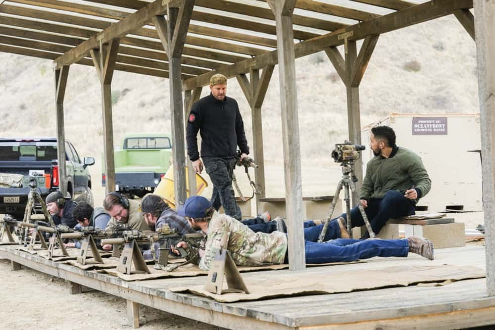 """Seal Team Season 4 Episode 12 """"Rearview Mirror"""" -- Jason\'s visit with a former teammate causes him to reevaluate his role as team leader. Also, several Bravo members grapple with their personal relationships when Command sends them on an unexpected mission to the coast of Africa, on SEAL TEAM, Wednesday, April 21 (9:00-10:00 PM, ET/PT) on the CBS Television Network. Pictured L to R: Scott Foxx as Full Metal, Justin Melnick as Brock Reynolds, Tyler Grey as Trent Sawyer, AJ Buckley as Sonny Quinn, David Boreanaz as Jason Hayes, Max Thieriot as Clay Spenser and Neil Brown Jr. as Ray Perry. Photo: Monty Brinton/CBS ©2021 CBS Broadcasting, Inc. All Rights Reserved."""