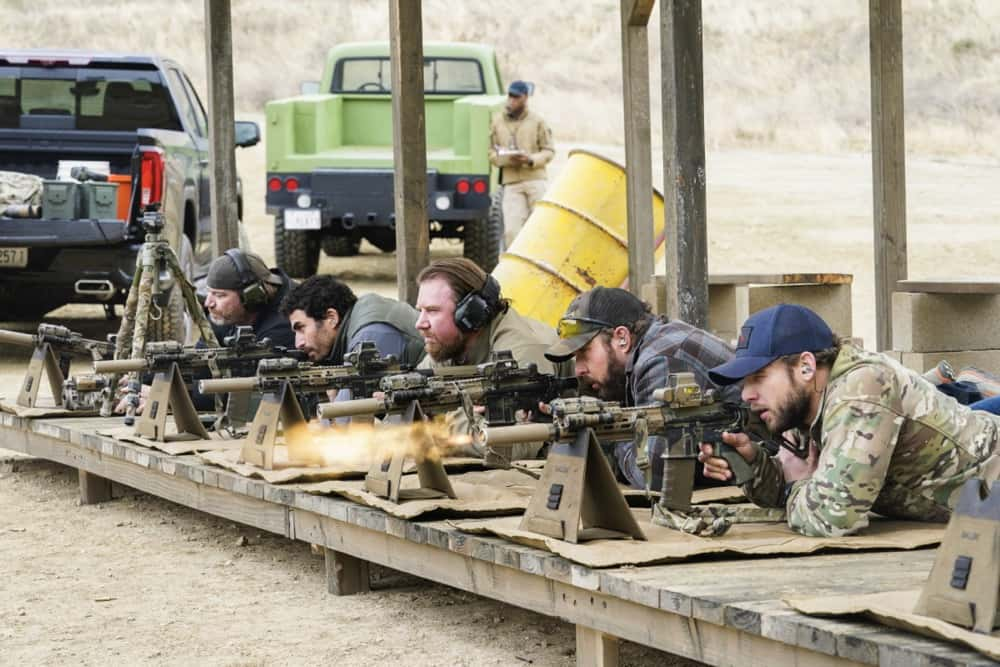 """Seal Team Season 4 Episode 12 """"Rearview Mirror"""" -- Jason\'s visit with a former teammate causes him to reevaluate his role as team leader. Also, several Bravo members grapple with their personal relationships when Command sends them on an unexpected mission to the coast of Africa, on SEAL TEAM, Wednesday, April 21 (9:00-10:00 PM, ET/PT) on the CBS Television Network. Pictured L to R: Scott Foxx as Full Metal, Justin Melnick as Brock Reynolds, Tyler Grey as Trent Sawyer, AJ Buckley as Sonny Quinn, and Max Thieriot as Clay Spenser. Photo: Monty Brinton/CBS ©2021 CBS Broadcasting, Inc. All Rights Reserved."""