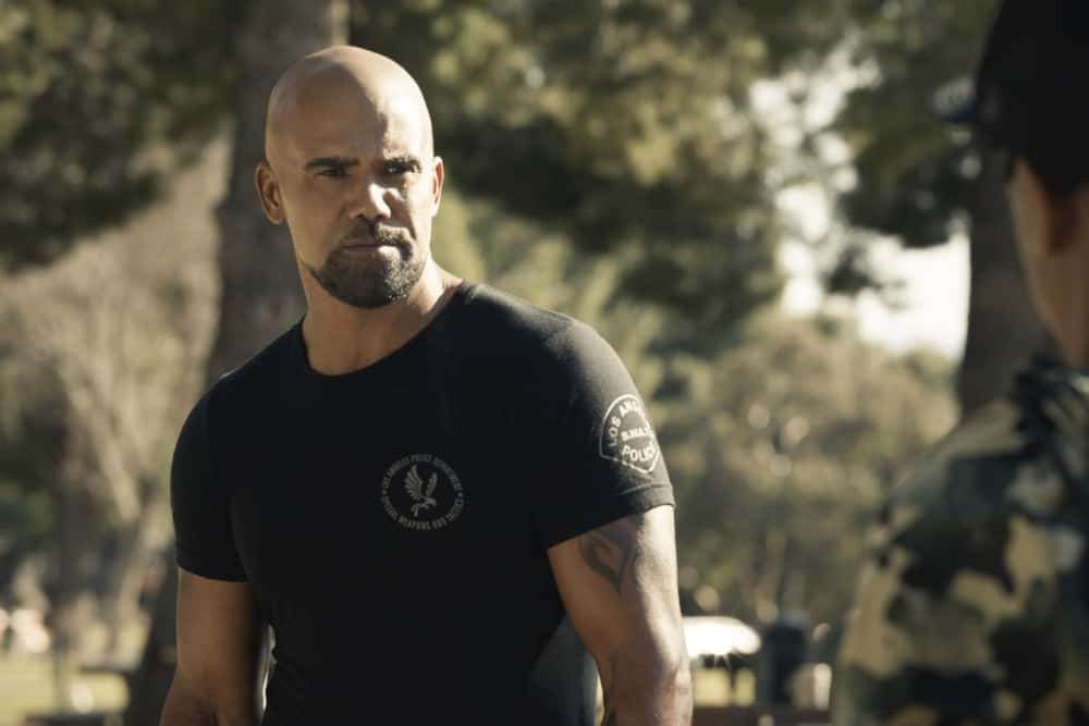 """SWAT Season 4 Episode 14 """"Reckoning"""" – As the team works to stop a violent attack on the city, they're forced to confront the group responsible for the death of team member, Erika Rogers. Also, Hondo and Leroy disagree on how to handle a challenge to Darryl's fledgling business, and Luca tries to recruit new TEMS officer Nora Fowler for an annual inter-squad competition, on S.W.A.T., Wednesday, April 21 (10:00-11:00 PM, ET/PT) on the CBS Television Network. Pictured (L-R): Shemar Moore as Daniel """"Hondo"""" Harrelson.   Photo: Screengrab/CBS ©2021 CBS Broadcasting, Inc. All Rights Reserved"""