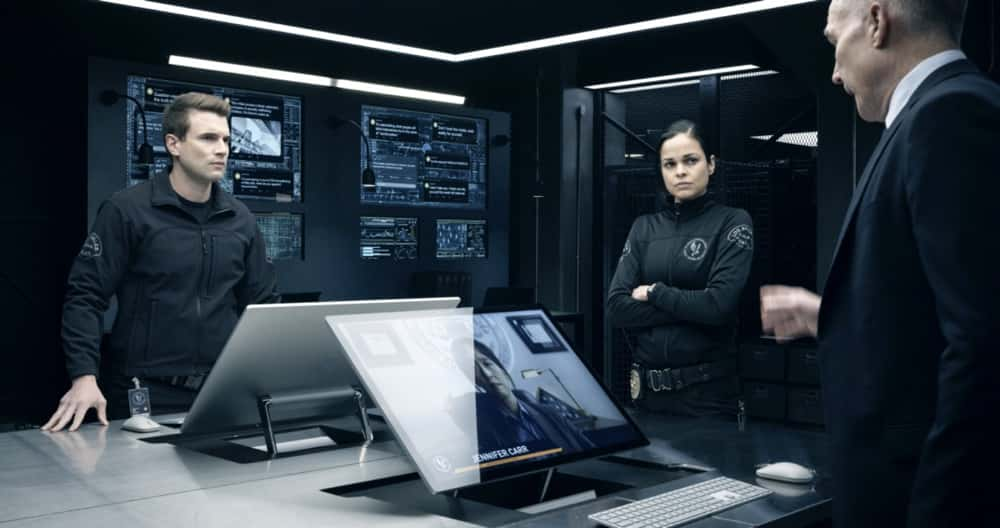 """SWAT Season 4 Episode 14 """"Reckoning"""" – As the team works to stop a violent attack on the city, they're forced to confront the group responsible for the death of team member, Erika Rogers. Also, Hondo and Leroy disagree on how to handle a challenge to Darryl's fledgling business, and Luca tries to recruit new TEMS officer Nora Fowler for an annual inter-squad competition, on S.W.A.T., Wednesday, April 21 (10:00-11:00 PM, ET/PT) on the CBS Television Network. Pictured (L-R): Alex Russell as Jim Street and Lina Esco as Christina """"Chris"""" Alonso. Photo: Screengrab/CBS ©2021 CBS Broadcasting, Inc. All Rights Reserved"""