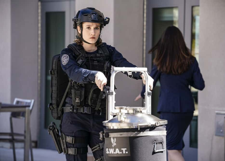 """SWAT Season 4 Episode 14 """"Reckoning"""" – As the team works to stop a violent attack on the city, they're forced to confront the group responsible for the death of team member, Erika Rogers. Also, Hondo and Leroy disagree on how to handle a challenge to Darryl's fledgling business, and Luca tries to recruit new TEMS officer Nora Fowler for an annual inter-squad competition, on S.W.A.T., Wednesday, April 21 (10:00-11:00 PM, ET/PT) on the CBS Television Network. Pictured (L-R): Norma Kuhling as Nora Fowler. Photo: Sonja Flemming/CBS ©2021 CBS Broadcasting, Inc. All Rights Reserved."""