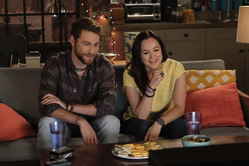 """THE GOLDBERGS Season 8 Episode 18S - """"The Dating Game"""" – Trying to move on from their breakup, Erica goes on a date with a guy from the coffee shop while Geoff ends up on an episode of """"The Dating Game,"""" which winds up making things even more difficult for them both. Meanwhile, Beverly is thrilled to learn that Murray has spontaneously purchased a shore house until she realizes it's not quite the luxury home she imagined on a new episode of """"The Goldbergs,"""" WEDNESDAY, APRIL 21 (8:00-8:30 p.m. EDT), on ABC. (ABC/Scott Everett White) CAMERON FULLER, HAYLEY ORRANTIA"""