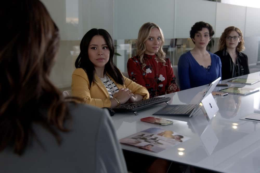 """GOOD TROUBLE Season 3 Episode 10 - """"She's Back"""" - Callie questions whether to help Kathleen after she's been arrested by the FBI; Mariana comes clean about her relationship with Evan; Malika makes a decision about her relationship with Isaac and Dyonte; Davia gets a win at her school; Gael gets some unexpected news; Alice comes to a decision regarding the comedy program. This episode of """"Good Trouble"""" airs Wednesday, April 21, at 10:00 p.m. ET/PT. (Freeform) CIERRA RAMIREZ, SERI DEYOUNG, MAISIE KLOMPUS, RACHEL ROSENBLOOM"""