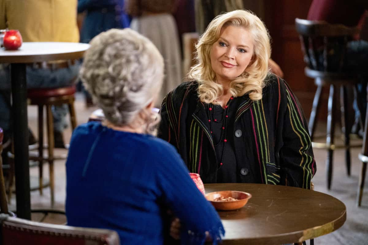 """Young Sheldon Season 4 Episode 15 """"A Virus, Heartbreak and a World of Possibilities"""" - Pictured: Brenda Sparks (Melissa Peterman). Sheldon is caught in a moral dilemma when offered a bootleg copy of a computer game he can't afford. Also, Mary and Meemaw take Brenda (Melissa Peterman) out for girls' night while George Sr. and the guys watch Billy, and Missy asks Georgie to take her and Marcus (London Cheshire) on a secret date, on YOUNG SHELDON, Thursday, April 22 (8:00-8:31 PM, ET/PT) on the CBS Television Network. Photo: Erik Voake/CBS ©2021 CBS Broadcasting, Inc. All Rights Reserved."""