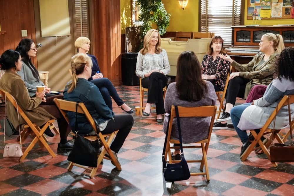 """Mom Season 8 Episode 15 """"Vinyl Flooring and a Cartoon Bear"""" – Bonnie and Tammy's friendship is tested when they take on a big project together. Also, the women worry about a fracture in their tight-knit group, on MOM, Thursday, April 22 (9:01-9:30 PM, ET/PT) on the CBS Television Network. Pictured (L-R): Jaime Pressly as Jill, Allison Janney as Bonnie, Beth Hall as Wendy, and Kristen Johnston as Tammy Photo: Robert Voets/CBS ©2021 CBS Broadcasting, Inc. All Rights Reserved."""