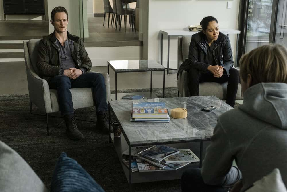 "DEBRIS Season 1 Episode 9 -- ""Do You Know Icarus"" Episode: 109 -- Pictured: (l-r) Jonathan Tucker as Bryan Beneventi, Riann Steele as Finola Jones, Keenan Tracey as Shelby -- (Photo by: James Dittiger/NBC)"