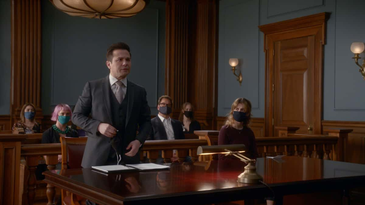 Bull Season 5 Episode 13 The Law of the Jungle Bull is hired to help a woman determined to go against legal advice when she insists on pleading guilty to the murder of a wealthy philanthropist who preyed on her a teenager, on the 100th episode of BULL, Monday, April 26 (10:00-11:00 PM, ET/PT) on the CBS Television Network. 100th episode directed by Emmy Award winner Joe Morton.Pictured L-R: Chelsea Debo as Rachel Carter, Freddy Rodriguez as Benny Col—n, Michael Weatherly as Dr. Jason Bull, and Alexa Mareka as Holly Kerrigan Photo: Screen Grab/CBS ©2021 CBS Broadcasting, Inc. All Rights Reserved