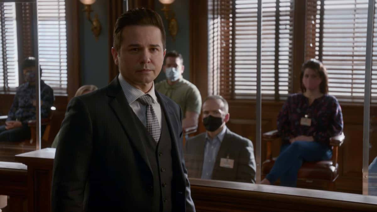 Bull Season 5 Episode 13 The Law of the Jungle Bull is hired to help a woman determined to go against legal advice when she insists on pleading guilty to the murder of a wealthy philanthropist who preyed on her a teenager, on the 100th episode of BULL, Monday, April 26 (10:00-11:00 PM, ET/PT) on the CBS Television Network. 100th episode directed by Emmy Award winner Joe Morton.Pictured: Freddy Rodriguez as Benny Col—n Photo: Screen Grab/CBS ©2021 CBS Broadcasting, Inc. All Rights Reserved