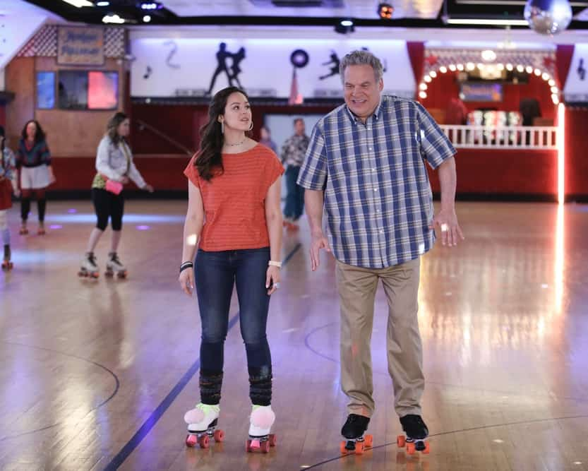 "THE GOLDBERGS Season 8 Episode 19 - ""Daddy Daughter Day 2"" – Following Erica and Geoff's breakup, Murray decides to take Erica out on a daddy-daughter date to cheer her up. Meanwhile, Adam is excited to participate in the school senior prank until his conscience catches up with him and he enlists Beverly's help to get him out of it on a new episode of ""The Goldbergs,"" WEDNESDAY, APRIL 28 (8:00-8:30 p.m. EDT and PDT/7:00-7:30 p.m. CDT/9:00-9:30 p.m. MDT), on ABC. (ABC/Raymond Liu) HAYLEY ORRANTIA, JEFF GARLIN"
