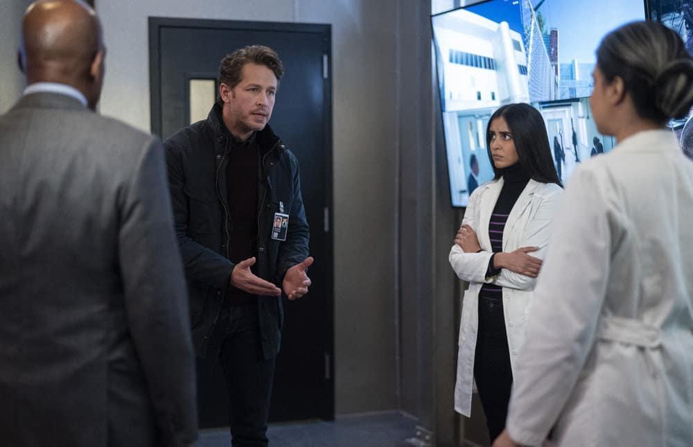 "MANIFEST Season 3 Episode 5 -- ""Water Landing"" Episode 305 -- Pictured: (l-r) Josh Dallas as Ben Stone, Parveen Kaur as Saanvi Bahl -- (Photo by: Peter Kramer/NBC)"