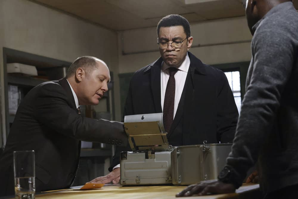 "THE BLACKLIST -- ""The Russian Knot"" Episode 815 -- Pictured: (l-r) James Spader as Raymond ""Red"" Reddington, Harry Lennix as Harold Cooper -- (Photo by: Will Hart/NBC)"