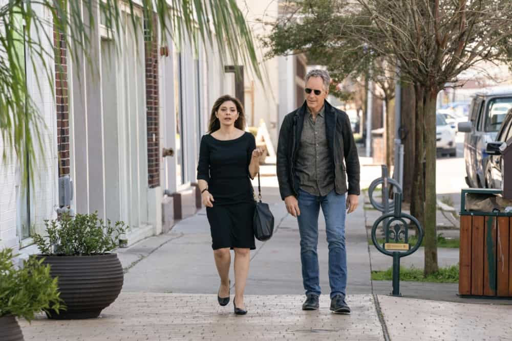 """NCIS New Orleans Season 7 Episode 13 """"Choices"""" –The team investigates the deadly bar bombing and impending criminal turf war involving Sasha Broussard. Also, while Pride must come to terms with having Connor in his life, Carter and Hannah work to define their new relationship, on """"NCIS: NEW ORLEANS,"""" Sunday, May 2 (10:00-11:00 PM, ET/PT) on the CBS Television Network. Pictured L-R: Callie Thorne as Sasha Broussard and Scott Bakula as Special Agent Dwayne Pride Photo: Sam Lothridge/CBS ©2021 CBS Broadcasting, Inc. All Rights Reserved."""