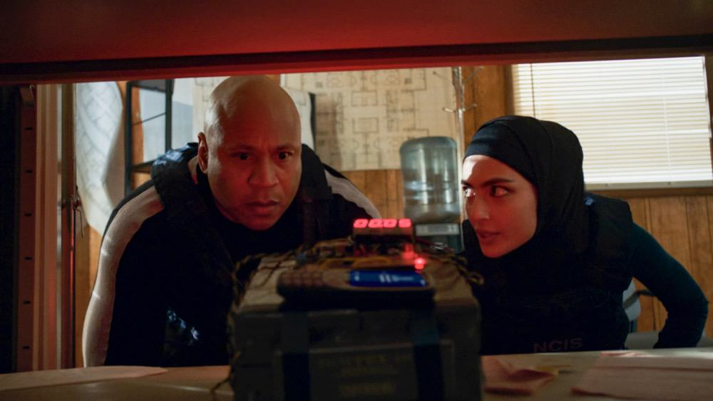 """NCIS Los Angeles Season 12 Episode 15 """"Imposter Syndrome"""" - Pictured: LL COOL J (Special Agent Sam Hanna) and Medalion Rahimi (Special Agent Fatima Namazi).  NCIS obtains a hard drive containing a realistic deep fake video of a deceased terrorist and must retrieve the dangerous technology behind it. However, when the team's comms are highjacked during their mission, they find that one of their own has been a victim of its potential, on NCIS: LOS ANGELES, Sunday, May 2 (9:00-10:00 PM, ET/PT) on the CBS Television Network. Photo: Screen Grab/CBS ©2021 CBS Broadcasting, Inc. All Rights Reserved."""