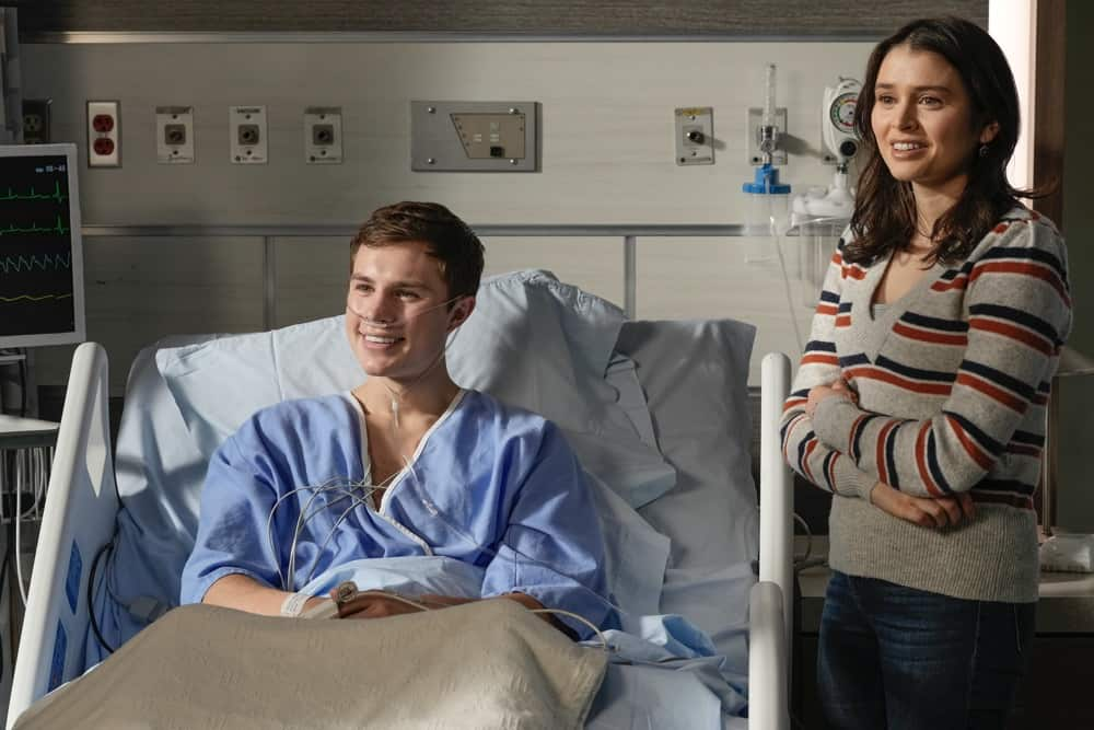 """THE ROOKIE Season 3 Episode 12 - """"Brave Heart"""" – After rushing his son, Henry, to the hospital following his collapse, Nolan is reunited with his ex-wife, Sarah, and they must come together to help their son. Meanwhile, Detective Lopez discovers """"La Fiera"""" is in the same hospital and wants to find out exactly why on """"The Rookie,"""" SUNDAY, MAY 2 (10:00-11:00 p.m. EDT), on ABC. (ABC/Scott Everett White) ZAYNE EMORY, MADELEINE COGHLAN"""