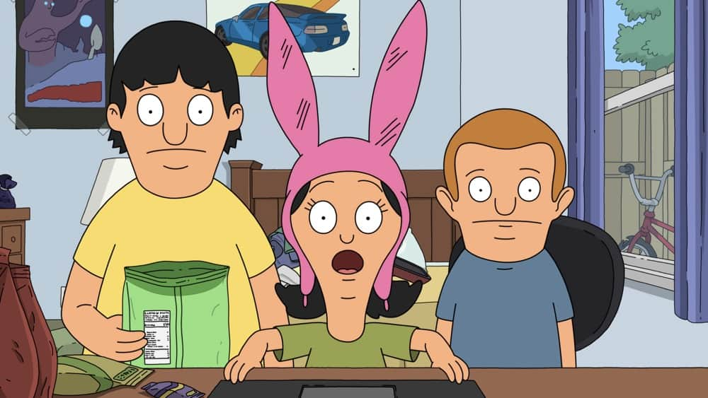 """BOB'S BURGERS Season 11 Episode 19 : When Louise finds out that Rudy has a model bridge that explodes, she decides to set out on a sort-of-kind-of-perilous journey, dragging her siblings along for the ride. Meanwhile, Mort tries to teach Bob, Linda and Teddy how to meditate in the """"Bridge Over Troubled Rudy"""" episode of BOBíS BURGERS airing Sunday, May 2 (9:00-9:30 PM ET/PT) on FOX. BOBíS BURGERS © 2021 by 20th Television."""