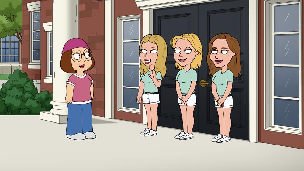 """FAMILY GUY Season 19 Episode 18 : Meg deals with a college admissions scandal, while Brian embarks on a fitness journey in the  """"Meg Goes to College"""" episode of FAMILY GUY airing Sunday, May 2 (9:30-10:00 PM ET/PT) on FOX. FAMILY GUY © 2021 by 20th Television."""