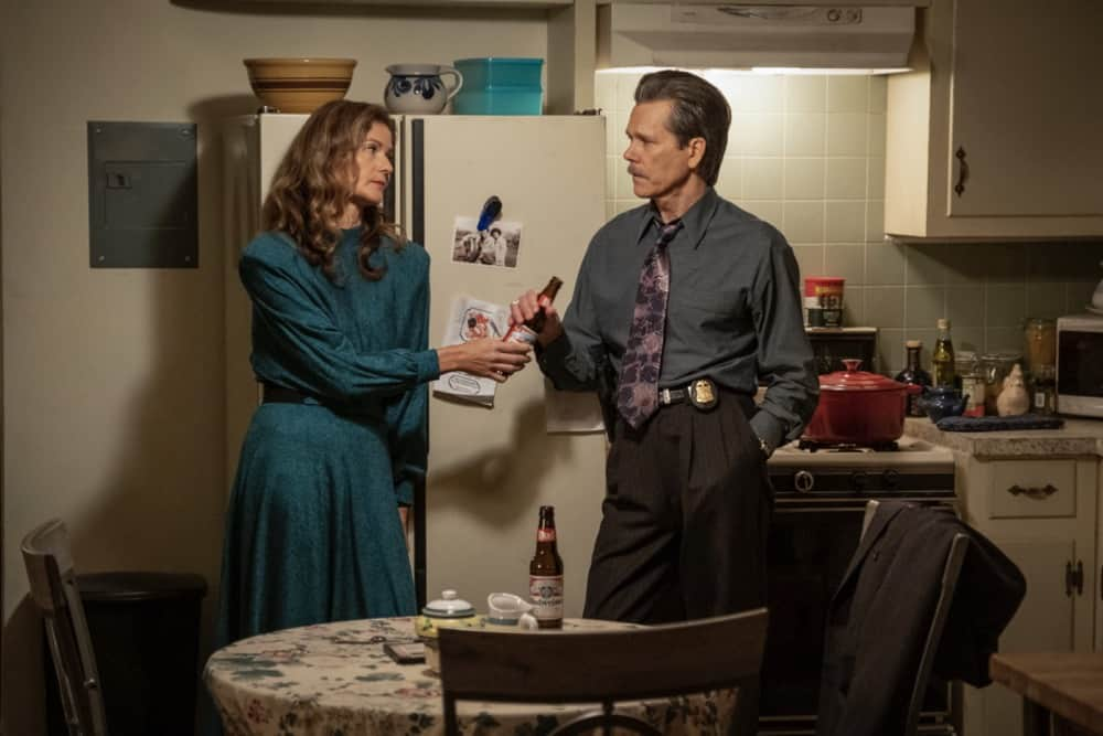 """City On A Hill Season 2 Episode 6 (L-R): Jill Hennessy as Jenny Rohr and  Kevin Bacon as Jackie Rohr in CITY ON A HILL, """"Don't Go Sayin' Last Words"""". Photo Credit: Francisco Roman/SHOWTIME."""