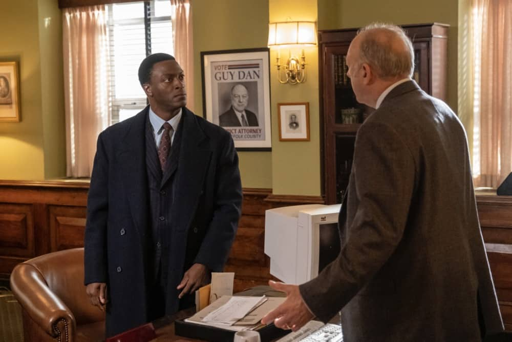 """City On A Hill Season 2 Episode 6 (L-R): Aldis Hodge as Decourcy Ward and John Doman as Guy Dan in CITY ON A HILL, """"Don't Go Sayin' Last Words"""". Photo Credit: Francisco Roman/SHOWTIME."""