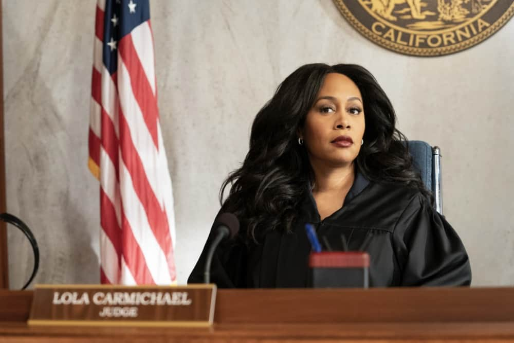 """All Rise Season 2 Episode 14 """"Caught Up in Circles"""" – Lola is conflicted when a former judge, Judge Prudence Jenkins, (Charlayne Woodard), whom she idolized, has been accused of bribery and is representing herself in a bench trial. Also, Mark moves forward with the case against McCarthy and he and Corrine Cuthbert (Anne Heche) each get one unchallenged request for a new judge, no questions asked, on ALL RISE, Monday, May 3 (9:00- 10:00 PM, ET/PT), on the CBS Television Network. Pictured: Simone Missick as Lola Carmichael Photo: Erik Voake/CBS ©2021 CBS Broadcasting, Inc. All Rights Reserved."""