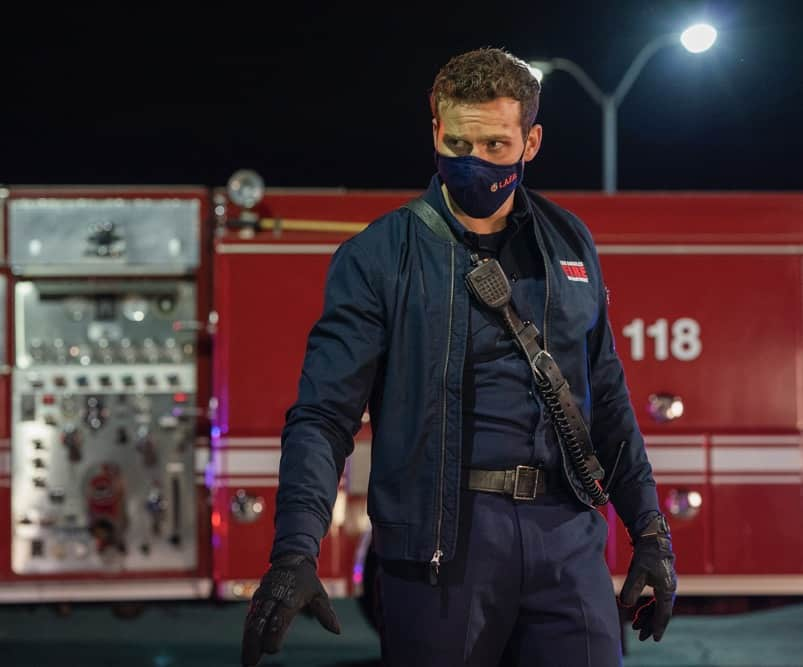 "9-1-1 Season 4 Episode 11 : Oliver Stark in the ""First Responders"" episode of 9-1-1 airing Monday, May 3 (8:00-9:00 PM ET/PT) on FOX. CR: Jack Zeman /FOX. © 2021 FOX Media LLC."