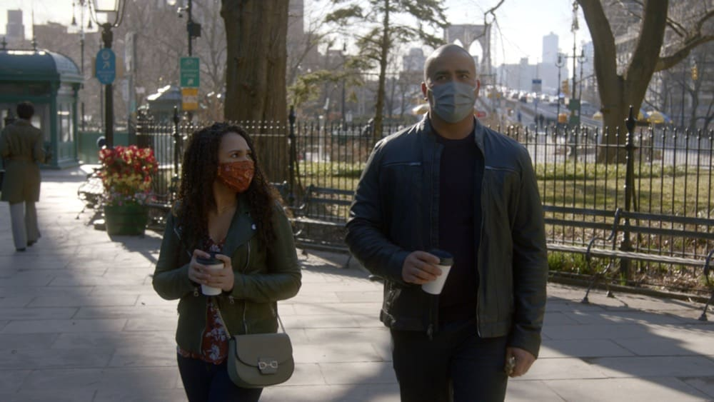 """Bull Season 5 Episode 14 """"Under the Influence"""" – Chunk does his daughter, Anna (Jazzy Kae), a favor and convinces Bull to represent a teenager on trial robbery, a defendant who faces an uphill battle in court when he refuses to name his accomplice. Also, Chunk is suspicious of Anna's older boyfriend who's a writer with the financial resources to pay the legal fees for TAC's teen client, and Taylor's forced to lean on her ex-husband's girlfriend as childcare for her son when the trial has her working around the clock, on BULL, Monday, May 3 (10:00-11:00 PM, ET/PT) on the CBS Television Network. Pictured L-R: Jazzy Kae as Anna and Christopher Jackson as Chunk Palmer Photo: Screen Grab/CBS ©2021 CBS Broadcasting, Inc. All Rights Reserved"""