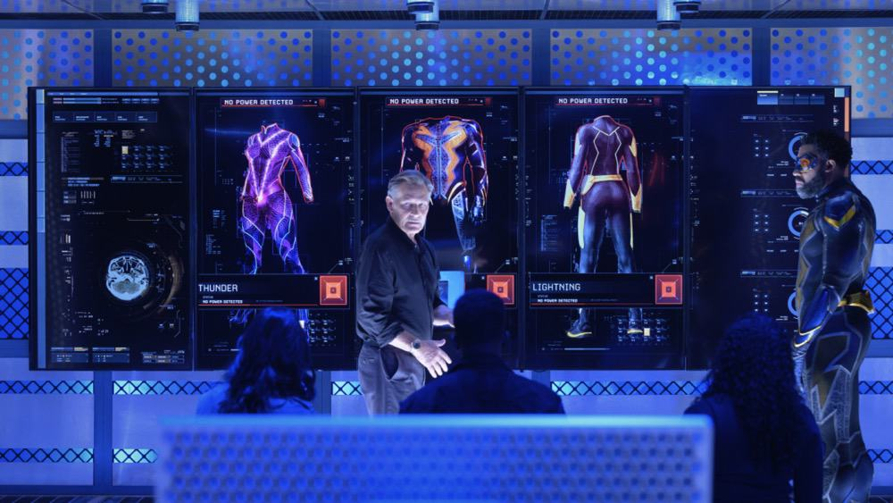"""BLACK LIGHTNING Season 4 Episode 10 -- """"The Book of Reunification: Chapter Oneg"""" -- Image Number: BLK410a_0003r.jpg -- Pictured: (L-R)  James Remar as Gambi and Cress Williams as Black Lightning -- Photo: Boris Martin/The CW --  2021 The CW Network, LLC. All rights reserved."""