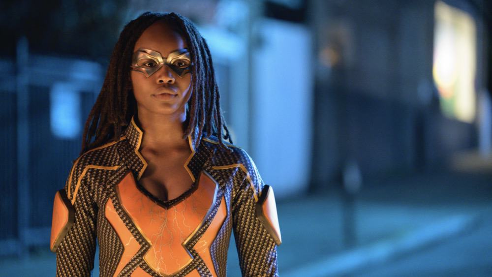 """BLACK LIGHTNING Season 4 Episode 10 -- """"The Book of Reunification: Chapter One"""" -- Image Number: BLK410b_0003r.jpg -- Pictured:  Laura Kariuki as Lightning -- Photo: Boris Martin/The CW --  2021 The CW Network, LLC. All rights reserved."""