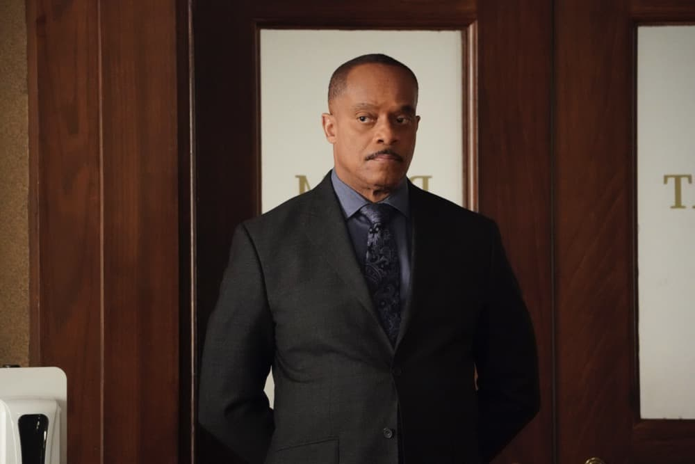 """NCIS Season 18 Episode 13 """"Misconduct"""" -- While the team investigates a biker killed in a hit and run, Gibbs prepares to testify against a financial advisor who stole millions from his Navy clients, on NCIS, Tuesday, May 4 (8:00-9:00 PM, ET/PT) on the CBS Television Network. Pictured: Rocky Carroll as NCIS Director Leon Vance. Photo: Bill Inoshita/CBS ©2021 CBS Broadcasting, Inc. All Rights Reserved."""