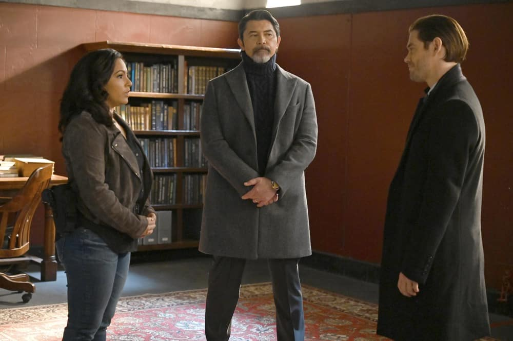 """PRODIGAL SON Season 2 Episode 11 : L-R: Guest star April Hernandez-Castillo, Lou Diamond Phillips and Tom Payne in the """"You Can Run…"""" episode of PRODIGAL SON airing Tuesday, May 4 (9:01-10:00 PM ET/PT) on FOX. ©2021 Fox Media LLC Cr: Phil Caruso/FOX"""