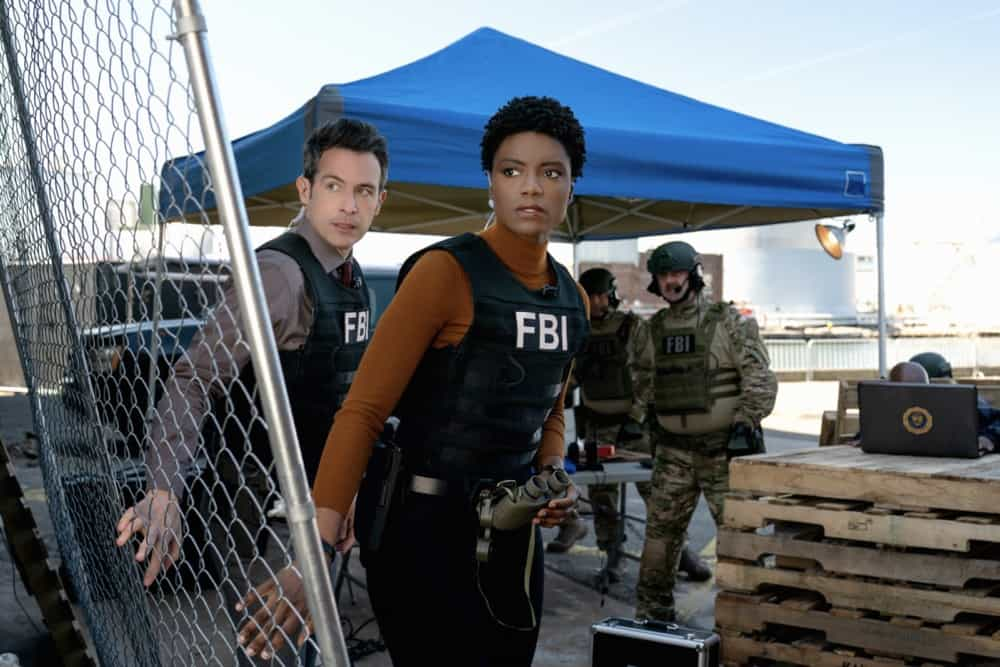"""FBI Season 3 Episode 12 """"Fathers and Sons"""" -- The team rushes to track down two doctors abducted by a desperate father willing to do anything to save his son. Also, Jubal\'s uncertainty in his family life affects his judgement during the hostage situation, on FBI, Tuesday, May 4  (9:00-10:00 PM, ET/PT) on the CBS Television Network.    Pictured (L-R)  John Boyd as Special AgentStuart Scola and  Katherine Renee Turner as Special Agent Tiffany Wallace    Photo: Michael Parmelee/ 2021 CBS Broadcasting, Inc. All Rights Reserved."""
