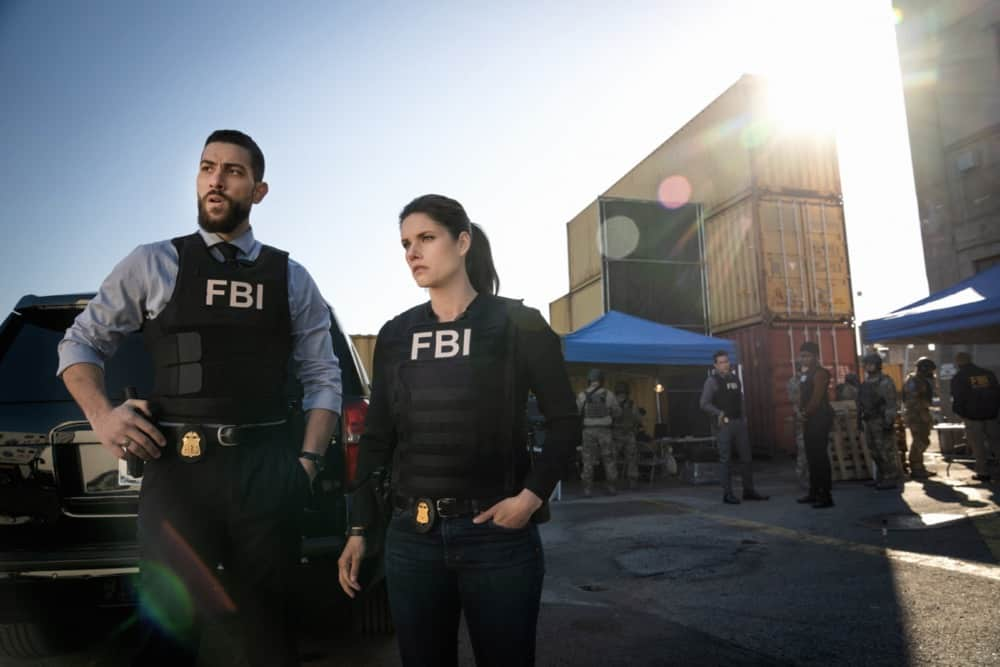 """FBI Season 3 Episode 12 """"Fathers and Sons"""" -- The team rushes to track down two doctors abducted by a desperate father willing to do anything to save his son. Also, Jubal\'s uncertainty in his family life affects his judgement during the hostage situation, on FBI, Tuesday, May 4 (9:00-10:00 PM, ET/PT) on the CBS Television Network.    Pictured (L-R) Zeeko Zaki as Special Agent Omar Adom ФOAХ Zidan, Missy Peregrym as Special Agent Maggie Bell, John Boyd as Special AgentStuart Scola and Katherine Renee Turner as Special Agent Tiffany Wallace     Photo: Michael Parmelee/ 2021 CBS Broadcasting, Inc. All Rights Reserved."""