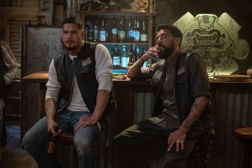 "MAYANS MC Season 3 Episode 9 -- ""The House of Death Floats By"" -- Season 3, Episode 9  (Airs May 4)  Pictured: JD Pardo as EZ Reyes, Clayton Cardenas as Angel Reyes. CR: Prashant Gupta/FX"