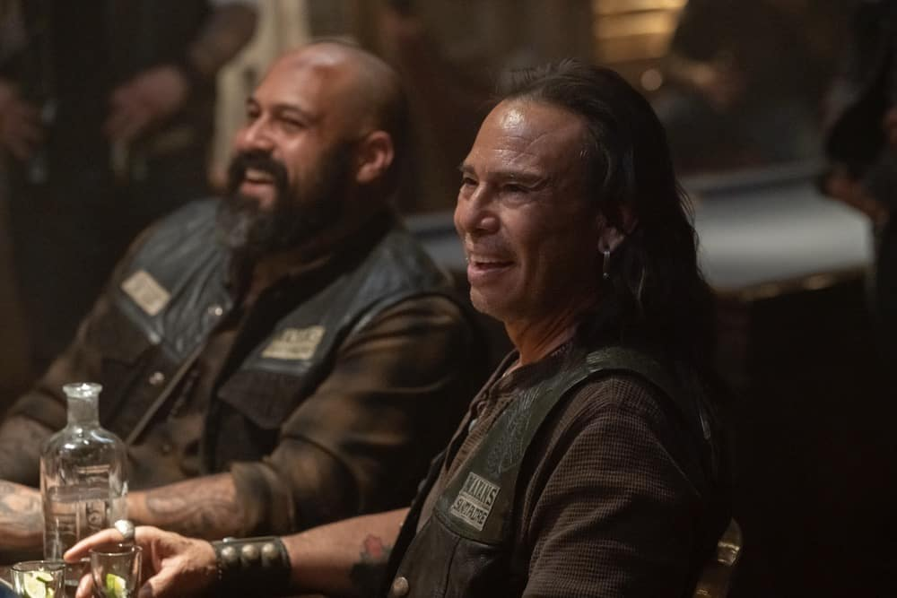 """MAYANS MC Season 3 Episode 9 -- """"The House of Death Floats By"""" -- Season 3, Episode 9  (Airs May 4)  Pictured: Vincent Rocco Vargas as Gilberto """"Gilly"""" Lopez, Raoul Max Trujillo as Che """"Taza"""" Romero. CR: Prashant Gupta/FX"""