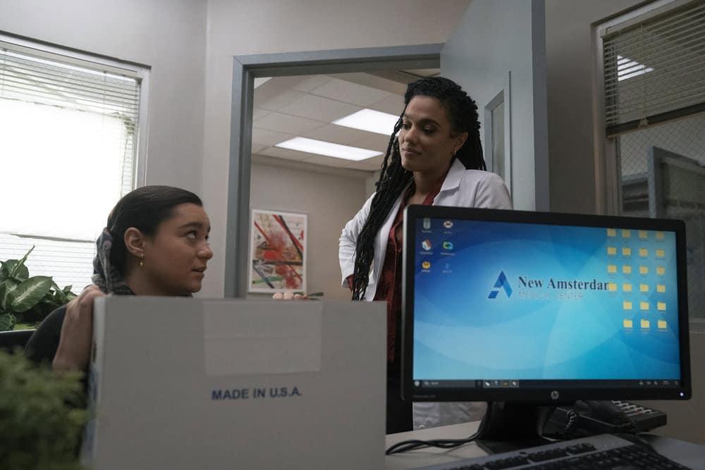 "NEW AMSTERDAM Season 3 Episode 10 -- ""Radical"" Episode 310 -- Pictured: (l-r) Nadia Affolter as Mina, Freema Agyeman as Dr. Helen Sharpe -- (Photo by: Virginia Sherwood/NBC)"