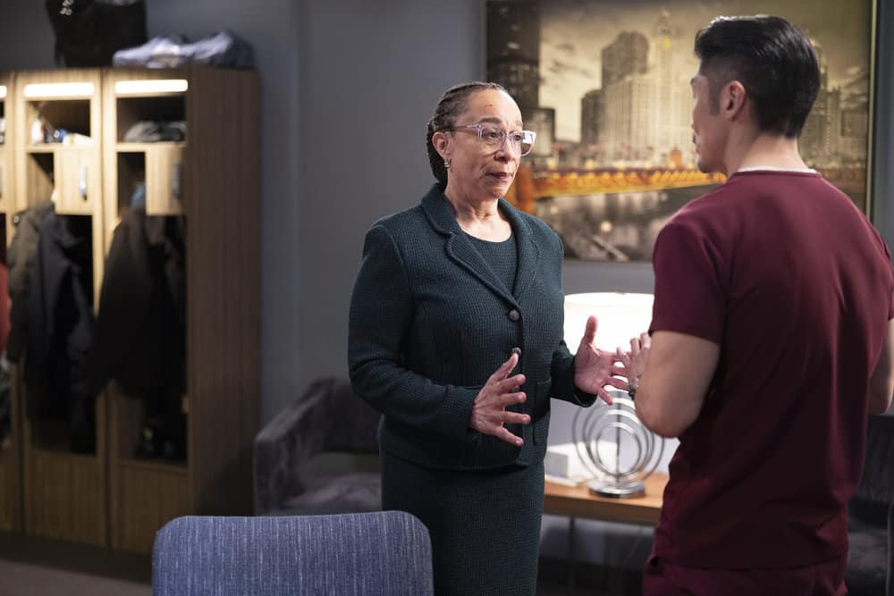 "CHICAGO MED Season 6 Episode 13 -- ""What A Tangle Web We Weave"" Episode 613 -- Pictured: (l-r) S. Epatha Merkerson as Sharon Goodwin, Brian Tee as Ethan Choi -- (Photo by: Adrian S Burrows Sr./NBC)"