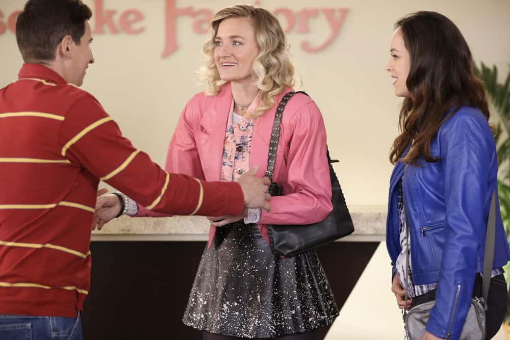 """THE GOLDBERGS Season 8 Episode 20 - """"Poker Night"""" – In order to take her mind off of her heartbreak, Erica takes a trip to Los Angeles to see her best friend, Lainey Lewis (played by AJ Michalka), and they end up getting the band back together for a gig. Meanwhile, after getting caught taking part in an underground poker game, Adam gets sentenced to Pop-Pop (played by Judd Hirsch) duty, which turns out better than expected, on a new episode of """"The Goldbergs,"""" WEDNESDAY, MAY 5 (9:30-10:00 p.m. EDT), on ABC. (ABC/Raymond Liu) SAM LERNER, AJ MICHALKA, HAYLEY ORRANTIA"""